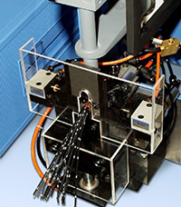 A microprocessor-controlled, spot-welding system, Sonobond's Ultrasonic Single Point Ground Welder can ultrasonically weld as many as 18 wires onto a single terminal with just one pulse, eliminating the electrical noise produced by the large number of complex electronic components in automotive circuits